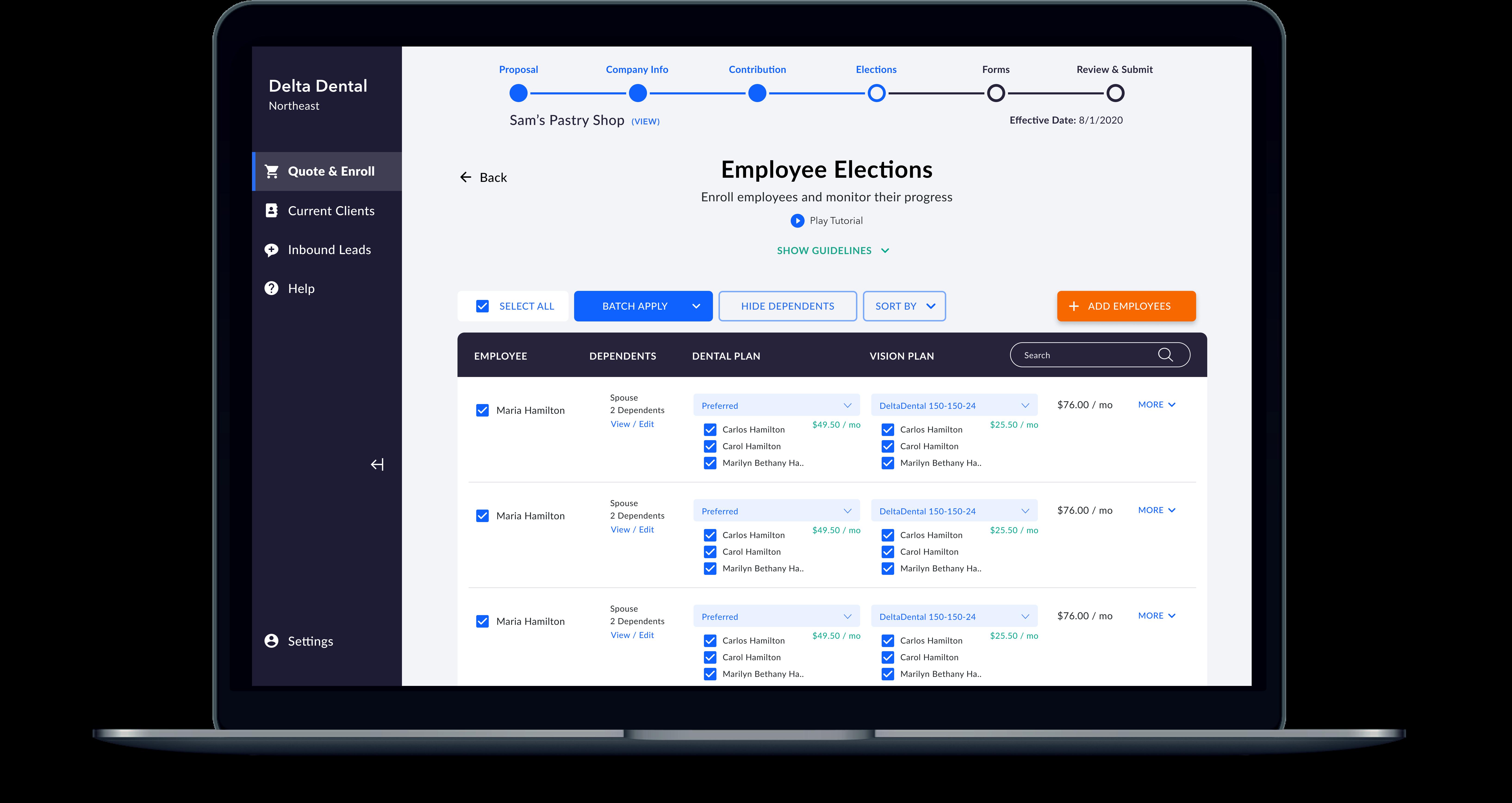 Employee Elections Mockup
